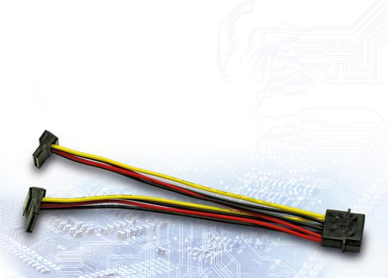 Picture of InterTech AC Adapter 1x Molex na 2x SATA Power 90°, 0.15m
