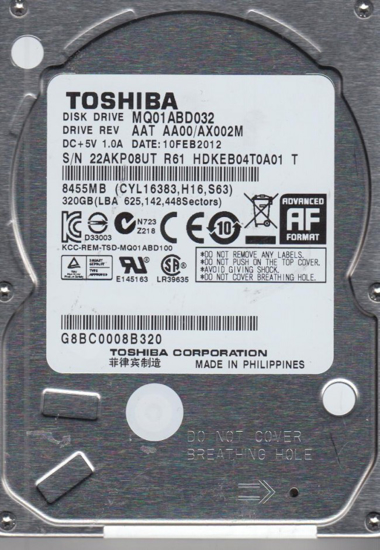 """Picture of Toshiba HDD 320MB 2.5"""" MQ01ABD032"""
